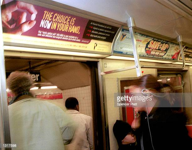 An ad on the F Subway Train promotes the new birth control pill RU-486 January 22, 2001 in New York City. The ad campaign, which is sponsored by...
