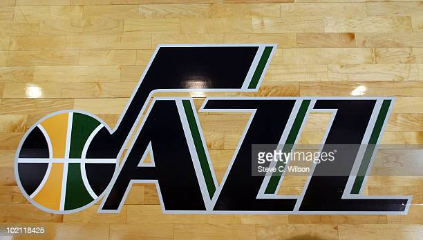 An additional Utah Jazz logo unveiled at EnergySolutions Arena on June 15 2010 in Salt Lake City Utah NOTE TO USER User expressly acknowledges and...