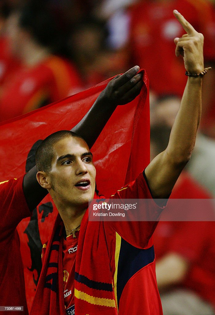 An Adelaide fan makes a gesture towards the Victory fans during the Hyundai A-League Grand Final between the Melbourne Victory and Adelaide United at the Telstra Dome February 18, 2007 in Melbourne, Australia.