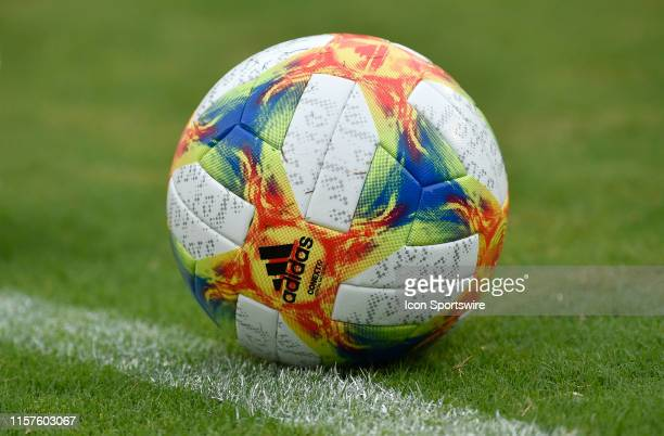 An Adidas Conext19 Official Match Ball of the International Champions Cup sits on the field before the the Real Madrid versus Arsenal International...