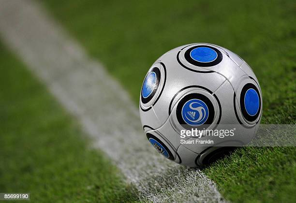 An Adidas football during the FIFA 2010 World Cup Qualifing match between Germany and Liechtenstein at the Zentral stadium on March 28 2009 in...