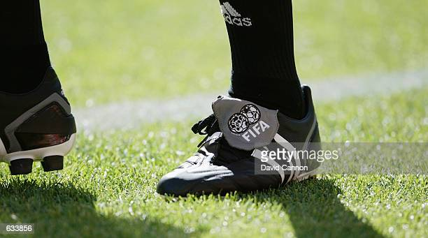 An Adidas referee's boot during the Croatia v Mexico, Group G, World Cup Group Stage match played at the Niigata Prefectural Stadium, Niigata, Japan...