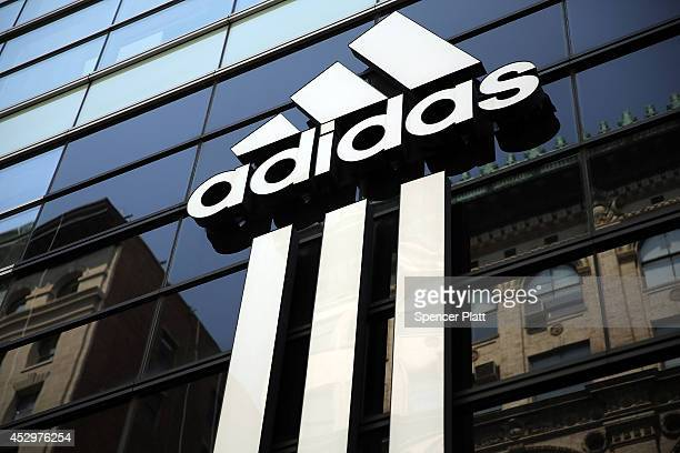 An Adidas store is viewed in Manhattan on July 31 2014 in New York City The German sporting goods manufacture surprised investors with a profit...