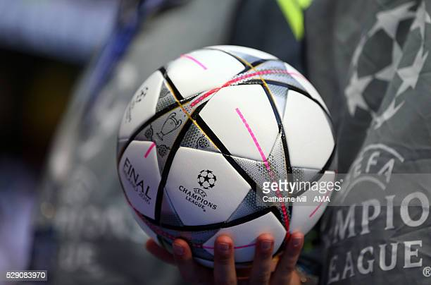 An Adidas UEFA Champions League Final ball during the UEFA Champions League Semi Final second leg match between Real Madrid and Manchester City FC at...