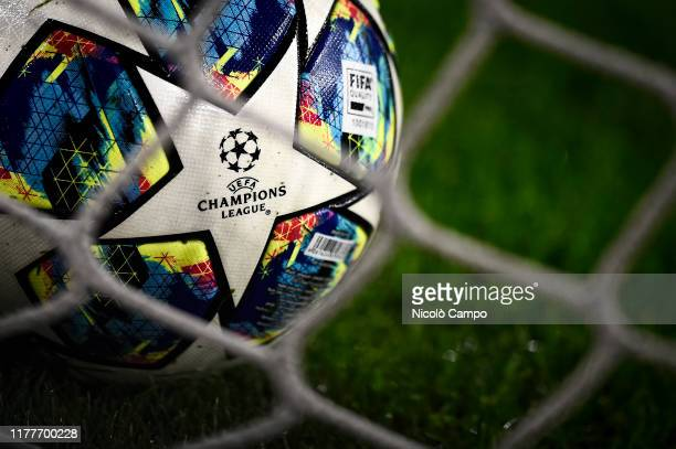 An Adidas UEFA Champions League official match ball is pictured prior to the UEFA Champions League football match between Juventus FC and FC...