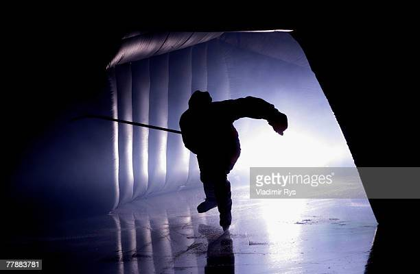 An Adler player is entering the ice prior to the DEL game between Adler Mannheim and Koelner Haie at the SAP Arena on November 13 2007 in Mannheim...