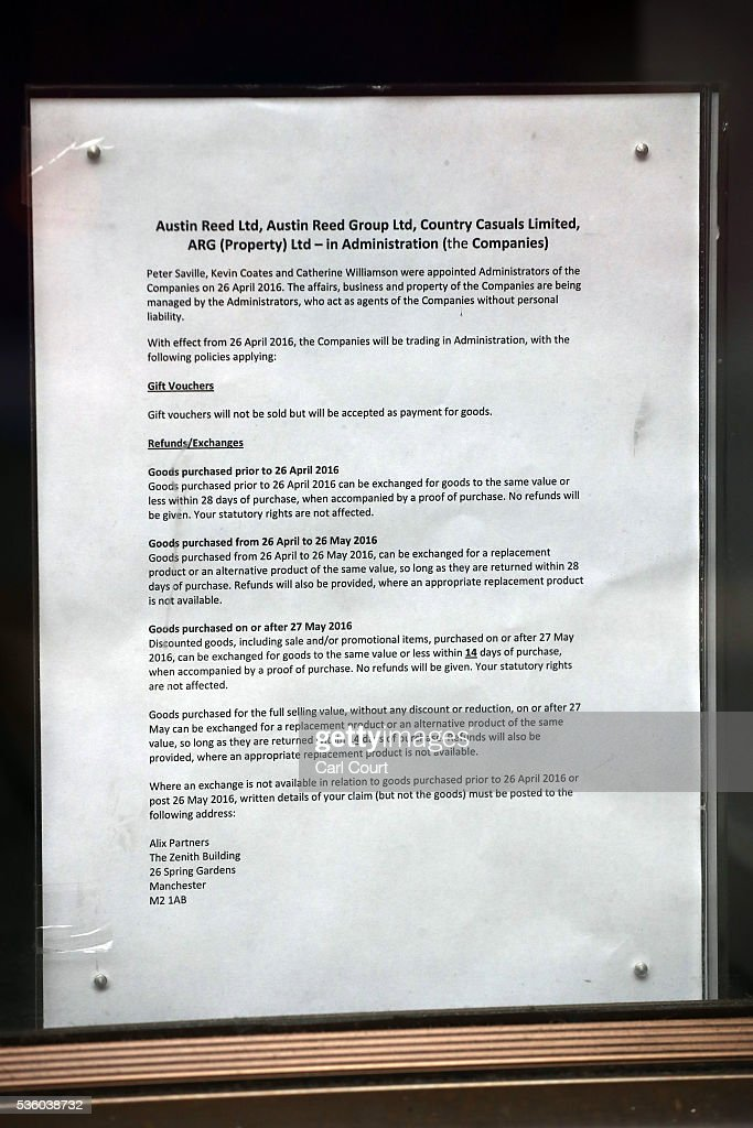 An Administration Notice Is Displayed In The Window Of An Austin Reed News Photo Getty Images