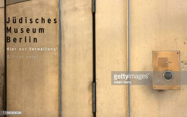 An administration office entrance and a security camera are seen at the Jewish Museum Berlin on June 24, 2019 in Berlin, Germany. The museum's...