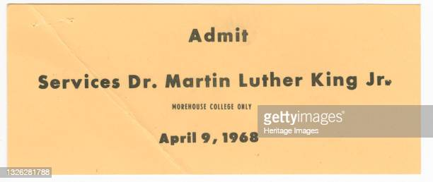 An admission ticket to satellite funeral services for Dr. Martin Luther King, Jr. At Morehouse College. The back is blank. The civil rights activist...