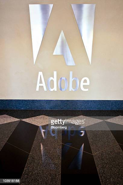 An Adobe sign sits on display inside the company's headquarters building in San Jose California US on Tuesday Sept 7 2010 Adobe Systems Inc the...