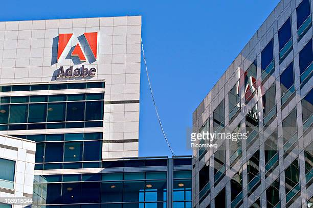 An Adobe sign sits on display outside the company's headquarters building in San Jose California US on Tuesday Sept 7 2010 Adobe Systems Inc the...