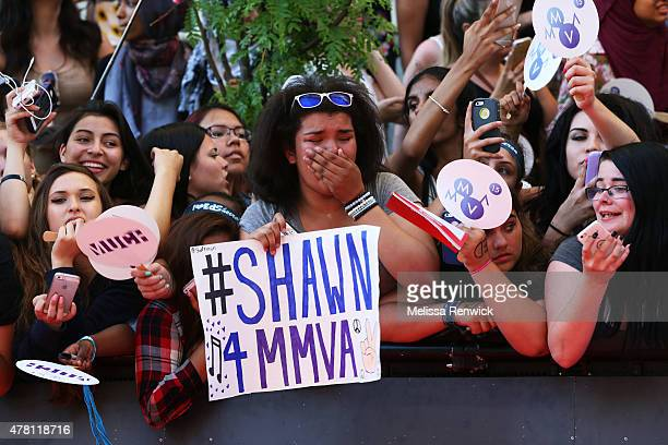 An adoring fan cries at the sight of Shawn Mendes at the 2015 Much Music Video Awards at MuchMusic on Queen Street West in Toronto June 21 2015
