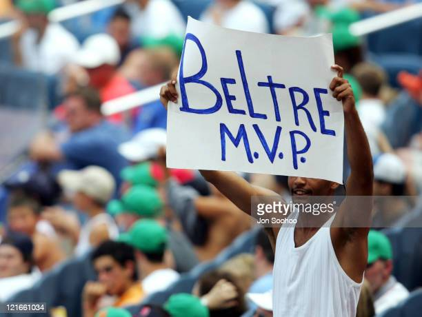 An Adrian Beltre fan holds up sign during Los Angeles Dodgers game versus New York Mets at Shea Stadium in Flushing, New York. Beltre went 5 for 5...