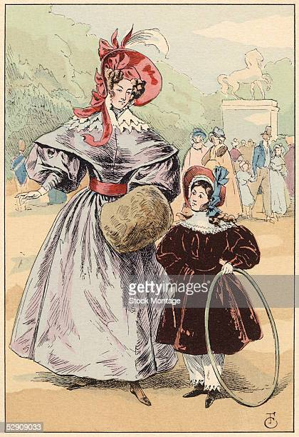 An adult woman and a girl walk side by side in a park Paris 1832 The woman carries a handwarming muff and the little girl carries a toy hoop