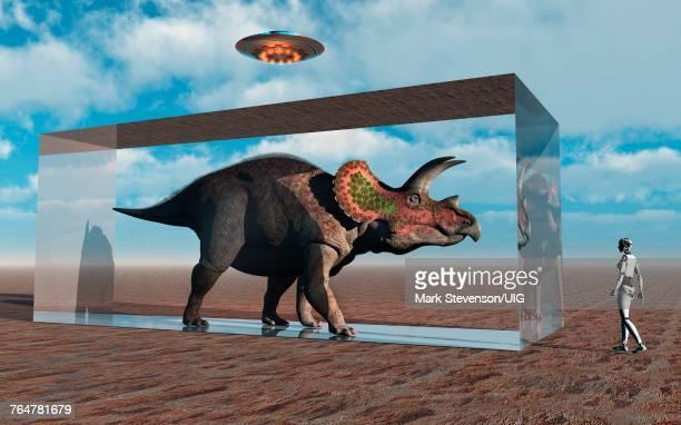 An Advanced Civilization Capturing A Dinosaur