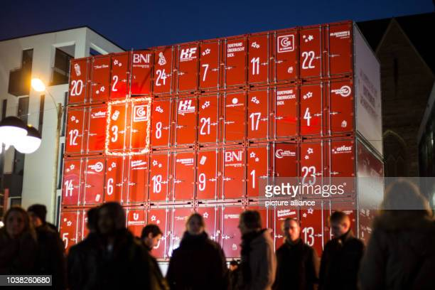An advent calendar with 24 large container stands in the city center of Dortmund Germany 03 December 2016 From 01 December to 23 December 2016 a door...