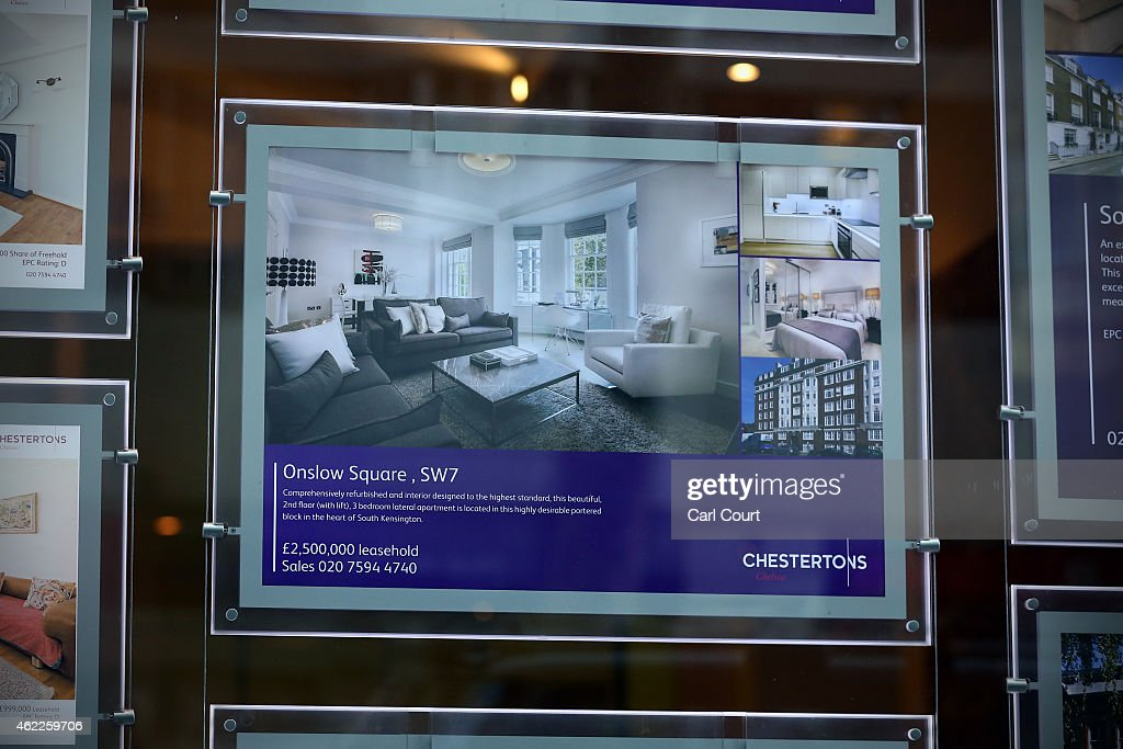 An advert for a luxury property is seen in the window of an estate agent on January 23, 2015 in west London, England. The Labour Party has proposed a Mansion Tax under which properties over a market value of 2 million GBP would be subject to a levy.