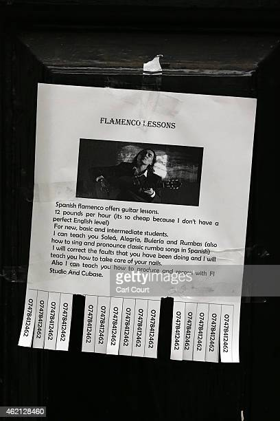 An advert for guitar lessons is seen on Denmark Street nicknamed 'Tin Pan Alley' on the outskirts of Soho on January 21 2015 in London England A...