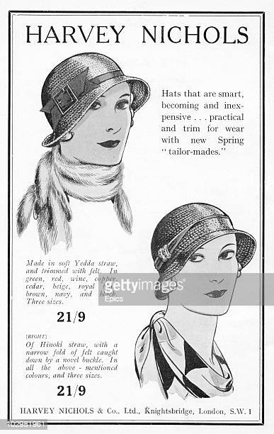 An advert for hats made from Yedda and Hinoki straw on sale at Harvey Nichols department store in Knightsbridge London 18th February 1932 The advert...