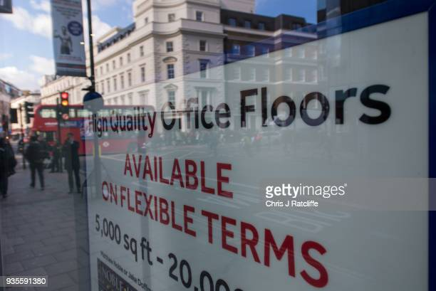 An advert for office space to rent in the window of the building where company Cambridge Analytica are based on March 21 2018 in London England UK...