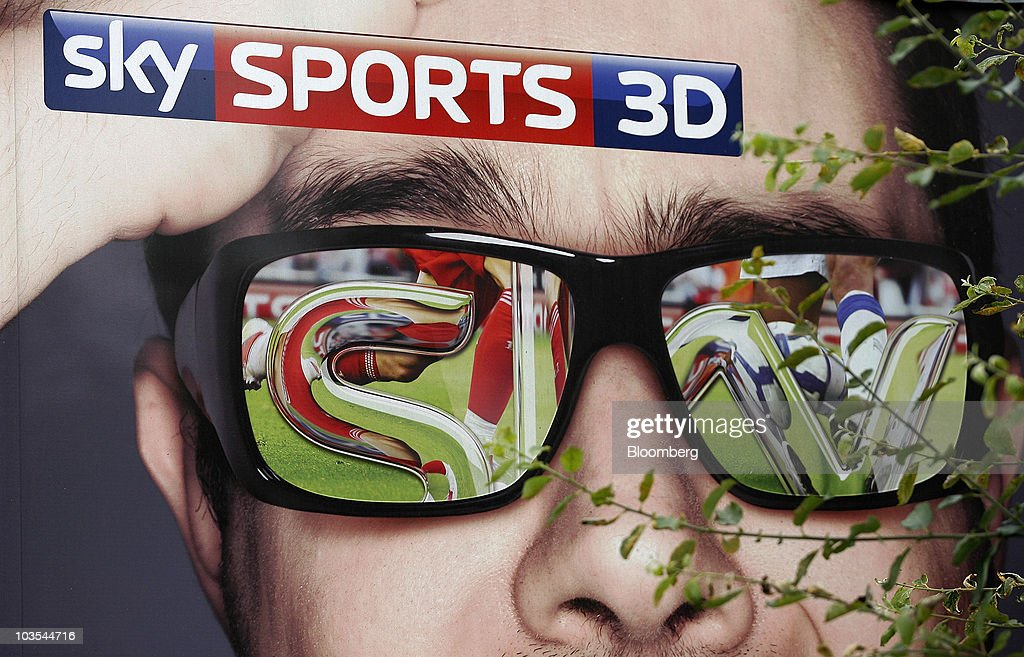 An advert for Sky Sports 3D television sits on a Sky transmission truck outside Wigan Athletic Football Club in Wigan, U.K., on Saturday, Aug. 21, 2010. British Sky Broadcasting Group Plc, which rejected News Corp.'s proposed bid for full ownership last month, said annual adjusted operating profit rose 10 percent as more clients signed up for high-definition television service. Photographer: Simon Bellis/Bloomberg via Getty Images