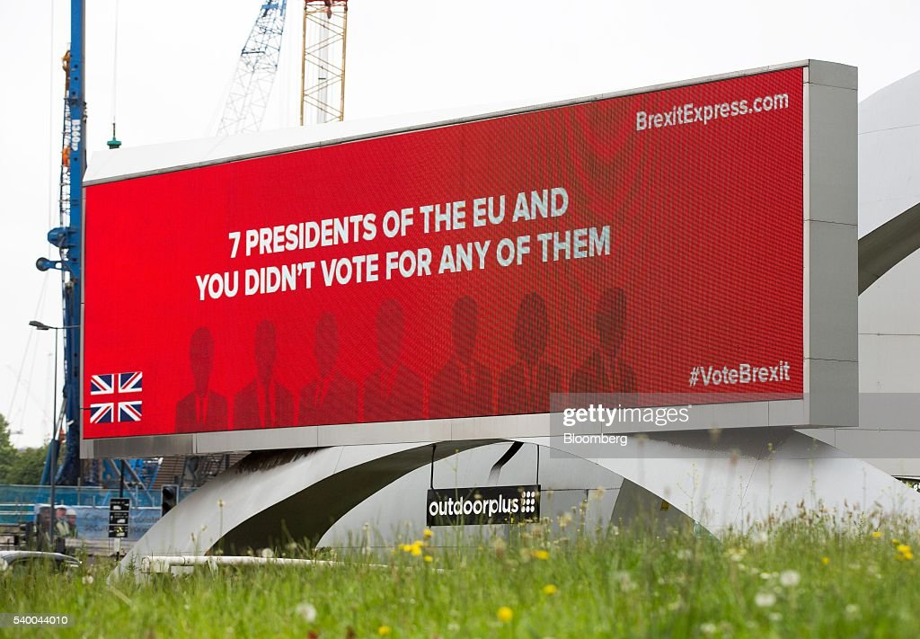 a series of brexit express billboards campaigning for britain to