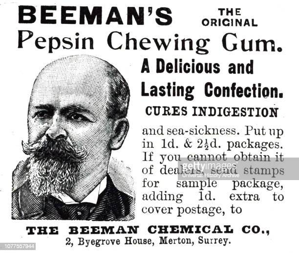 An advertisement for Beeman's Pepsin Chewing Gum Dated 19th century