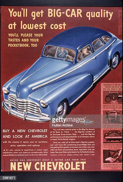 An advertisement for Chevrolet automobiles showing a woman driving a car circa 1950