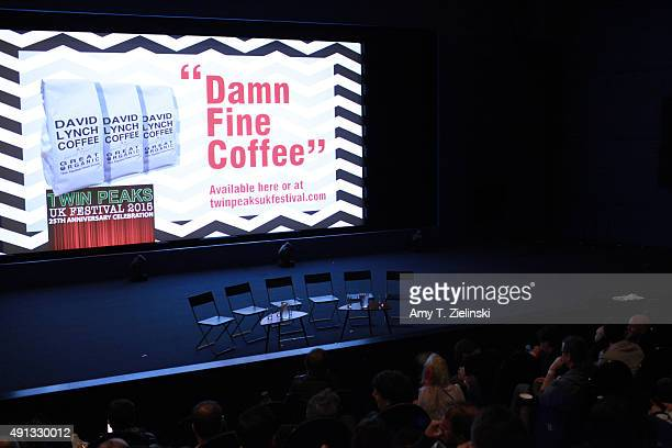 An advertisement for David Lynch Damn Fine Coffee is projected on the screen before the QA with actors during the sixth annual Twin Peaks UK Festival...