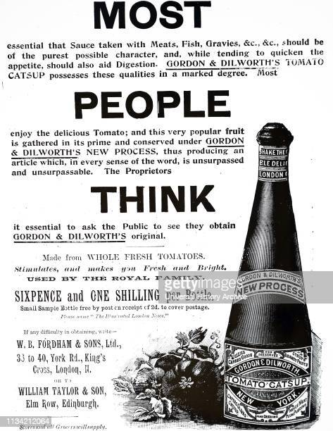 An advertisement for Gordon Dilworth's tomato sauce Dated 20th century