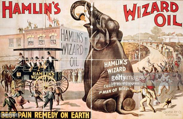 An advertisement for Hamlin's Wizard Oil features an elephant who has escaped from a circus parade drinking a bottle of Wizard Oil The poster reads...