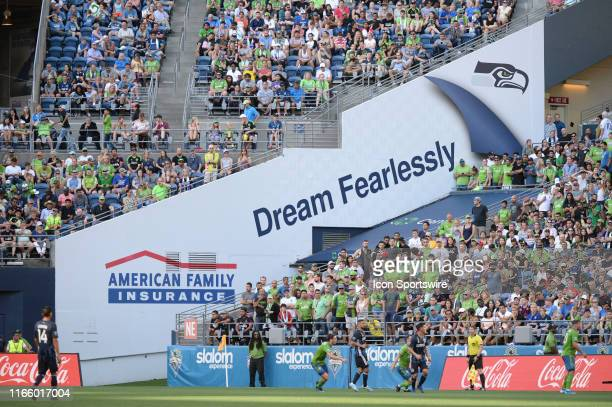 An advertisement for major sponsor American Family Insurance inside the CLINK during an MLS match on September 1 at Century Link Field in Seattle, WA.