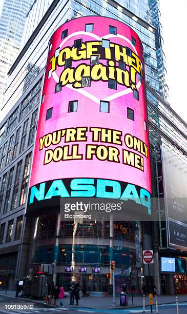 An advertisement for Mattel Inc's Barbie brand is displayed outside of the Nasdaq MarketSite in New York US on Tuesday Feb 15 2011 Mattel the world's...