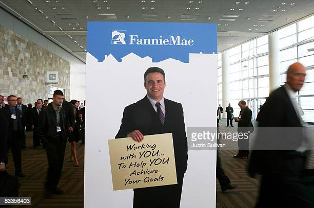 An advertisement for mortgage broker Fannie Mae is seen at the 2008 Mortgage Banker's Association Conference and Expo October 20 2008 in San...