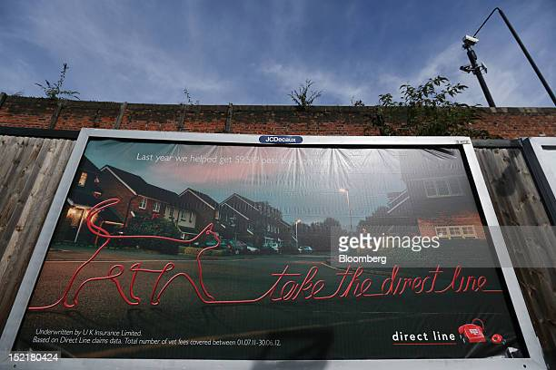 An advertisement for pet insurance from Direct Line Insurance Group Plc is seen at Maryland rail station in London UK on Monday Sept 17 2012 Royal...