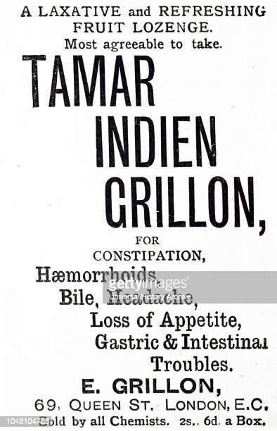 An advertisement for Tamar Indien Grillon a refreshing fruit lozenge to relieve constipation and other gastric and intestinal troubles Dated 19th...