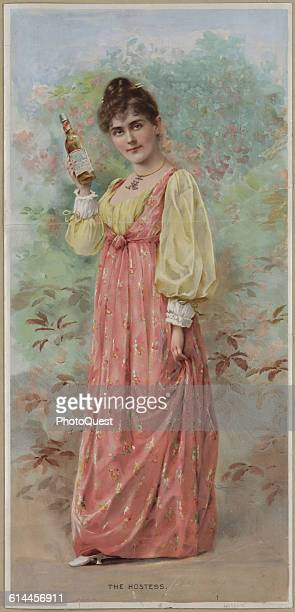 An advertisement for the AnheuserBusch Brewing Company entitled 'The Hostess' features an illustration of a young woman as she holds a bottle of...
