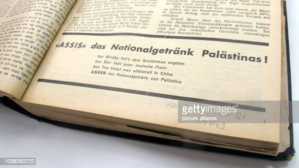 An advertisement for the beverage 'Assis'in a 1933 edition of the magazine 'Mitteilungsblatt' now called 'Yakinton' the oldest Germanlanguage...
