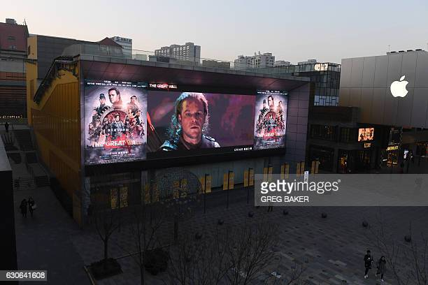 An advertisement for the movie 'The Great Wall' is displayed outside a cinema in Beijing on December 29 2016 Chinese state media have taken popular...