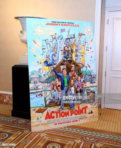 An advertisement for the upcoming 'Action Point' movie is displayed at Caesars Palace during CinemaCon the official convention of the National...