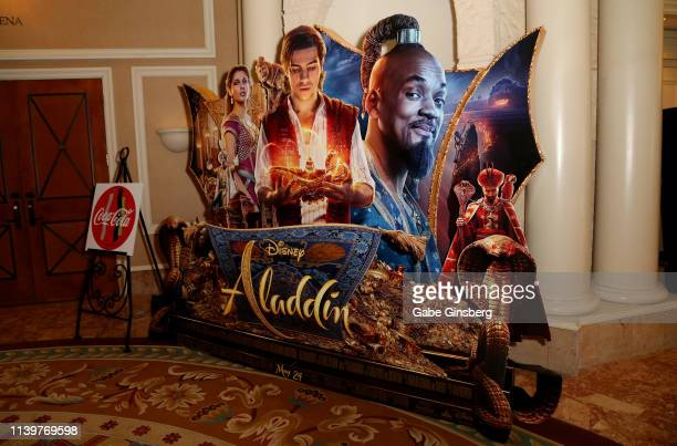 An advertisement for the upcoming Aladdin movie is displayed at Caesars Palace during CinemaCon the official convention of the National Association...