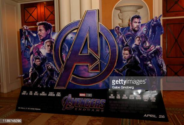 An advertisement for the upcoming Avengers Endgame movie is displayed at Caesars Palace during CinemaCon the official convention of the National...