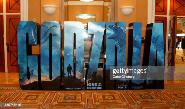 An advertisement for the upcoming Godzilla King of the Monsters movie is displayed at Caesars Palace during CinemaCon the official convention of the...