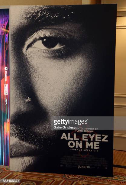 An advertisement for the upcoming movie 'All Eyez on Me' is displayed at CinemaCon at Caesars Palace on March 27 2017 in Las Vegas United States