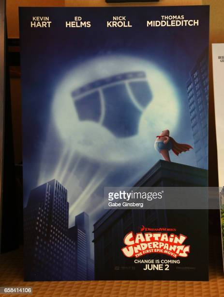 An advertisement for the upcoming movie 'Captain Underpants' is displayed at CinemaCon at Caesars Palace on March 27 2017 in Las Vegas United States