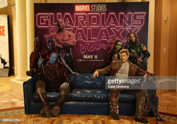 """An advertisement for the upcoming movie """"Guardians of the Galaxy Vol. 2"""" is displayed at CinemaCon at Caesars Palace on March 27, 2017 in Las Vegas,..."""