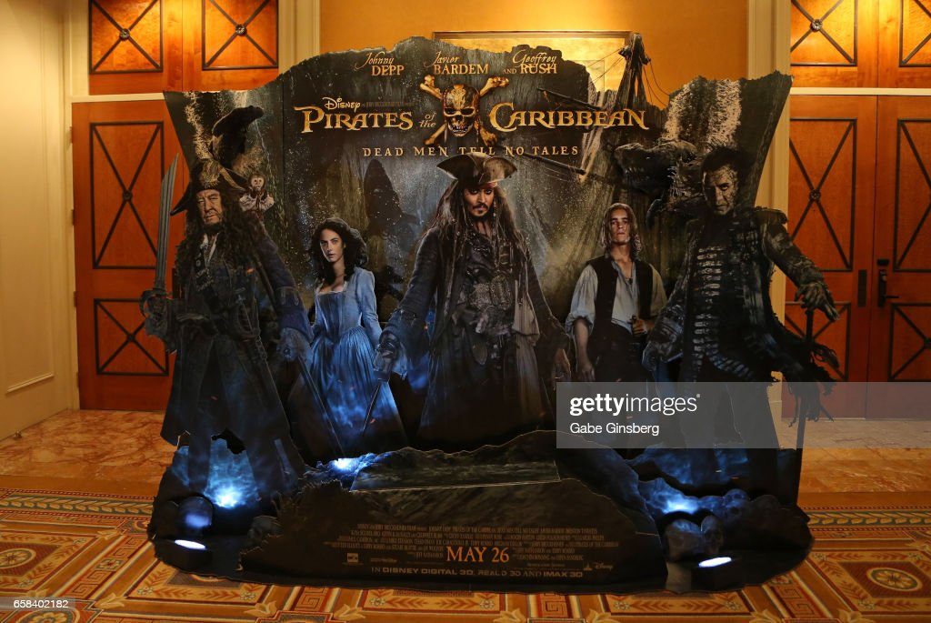 An advertisement for the upcoming movie 'Pirates of the Caribbean: Dead Men Tell No Tales' is displayed at CinemaCon at Caesars Palace on March 27, 2017 in Las Vegas, Nevada.