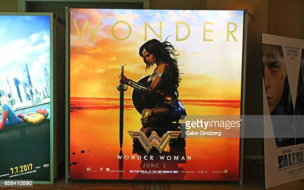"An advertisement for the upcoming movie ""Wonder Woman"" is displayed at CinemaCon at Caesars Palace on March 27, 2017 in Las Vegas, United States."