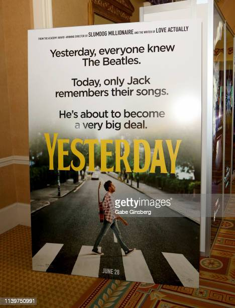An advertisement for the upcoming Yesterday movie is displayed at Caesars Palace during CinemaCon the official convention of the National Association...