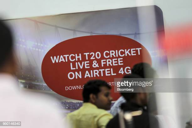 An advertisement for watching the Indian Premier League is displayed inside a Bharti Airtel Ltd store in Mumbai India on Saturday April 21 2018...